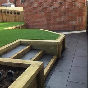 new grass, steps and patio