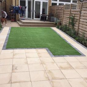 patio with artificial grass